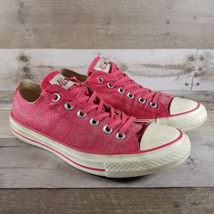 Pink Converse Low Top Canvas Sneakers